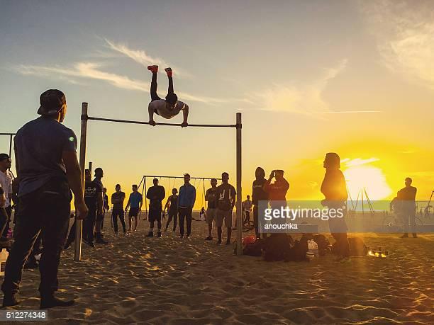 People exercising on Muscle Beach, Santa Monica