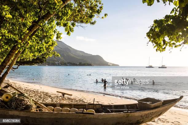 People exercising on the beach, Mahe Island, Seychelles