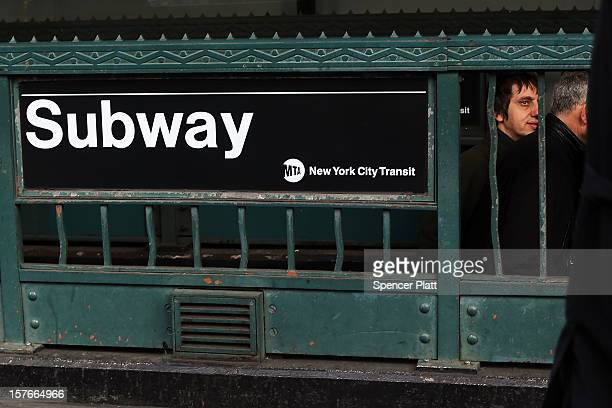 People exit a subway stop in Manhattan two days after a man was pushed to his death in front of a train on December 5 2012 in New York City The...