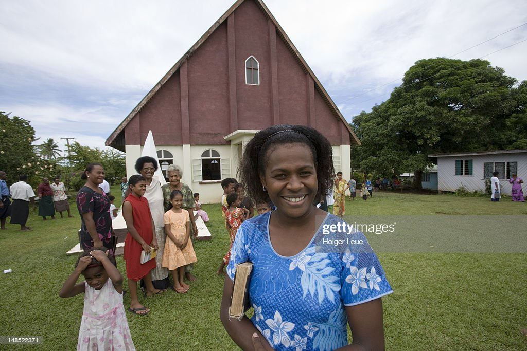 People exit church following Sunday service. : Stock Photo