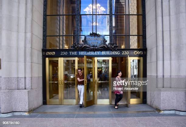 People exit The Helmsley Building on Park Avenue in New York City The Midtown Manhattan skyscraper was built in 1929 when it was known as the New...