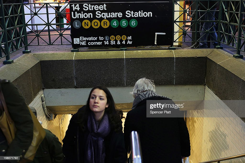 People exit the subway at Union Square on December 19, 2012 in New York City. Following the recommendation of outgoing Chairman Joseph Lhota, the Metropolitan Transportation Authority (MTA) board approved fare and toll hikes Wednesday. The hikes, which will go into effect in March, include raising the base fare from $2.25 to $2.50, the 7-day MetroCard from $29 to $30 and the 30-day MetroCard from $104 to $112.