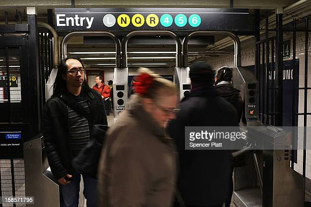 People exit the subway at Union Square on December 19 2012 in New York City Following the recommendation of outgoing Chairman Joseph Lhota the...