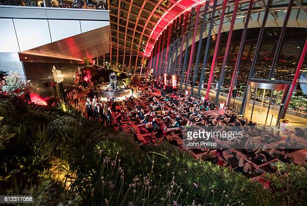250 people experience 'The Best Workout in the World' 155 metres in the sky to support Stand Up To Cancer at The Sky Garden on October 3 2016 in...