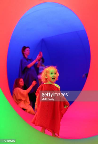 People explore Colourscape on the front lawn of Holburne Museum on August 23 2013 in Bath England The Colourscape Music Festival which runs until...
