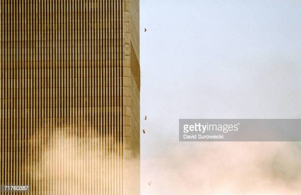 People fall from the World Trade Center after jumping from a burning floor after two airliners crashed into the buildings on September 11, 2001 in...