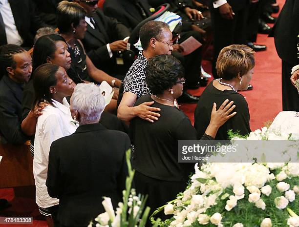 People file past the casket of Ethel Lance who was one of nine victims of a mass shooting at the Emanuel African Methodist Episcopal Church at Royal...