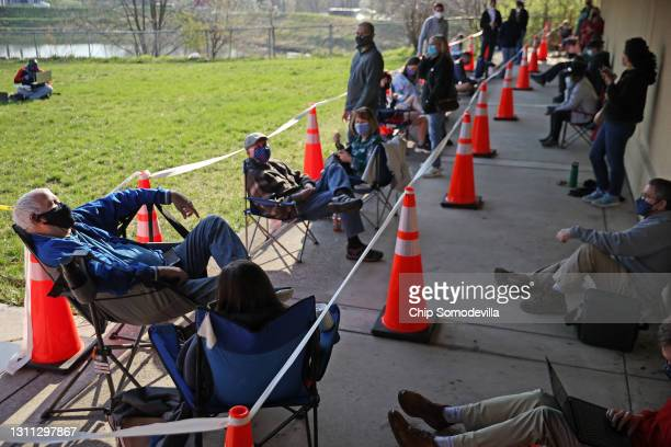 People first in line for those without appointments -- some arriving as early as 3:30am -- wait outside at the mass coronavirus vaccination site at...