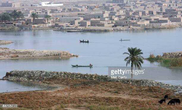 People fish on the river at Al Qurnah close to the claimed biblical location of the Garden of Eden near the confluence of the Euphrates and Tigris...