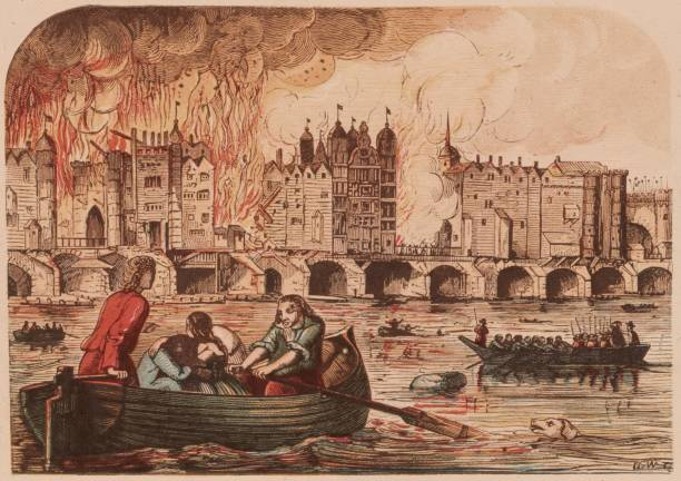 People flee to boats on the River Thames to escape...