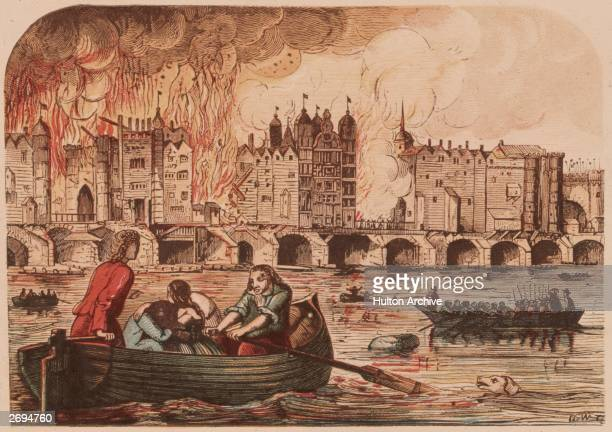 People flee to boats on the River Thames to escape the Great Fire of London, September 1666.