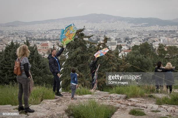 People fly kites during Ash Monday event at Filopappou Hill he first day of Great Lent throughout Eastern Christianity knows as 'Ash Monday' is a...