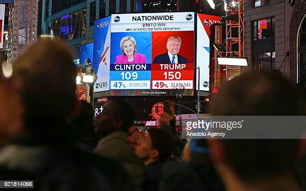 People follow results of the 2016 Presidential Elections at Time Square Center in New York, United States on November 9, 2016.