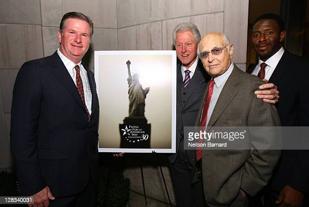 People For The American Way President Michael B Keegan Former US president Bill Clinton People For the American Way Founding Chair Norman Lear and...
