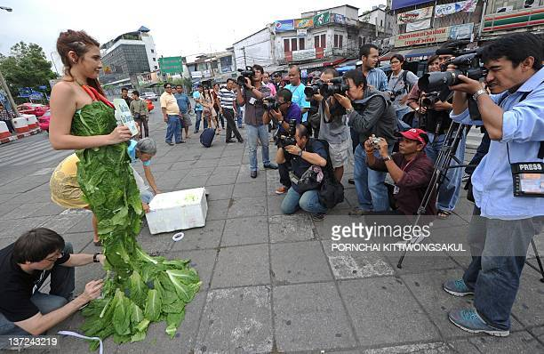 A People for the Ethical Treatment of Animals activist wears a gown made of lettuce leaves as photographers cover the event during a demonstration in...