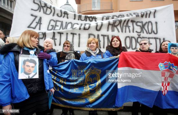 People from associations consisting of former soldiers gather at Ban Jelacic Square to protest the Serbian President Aleksandar Vucic's official...