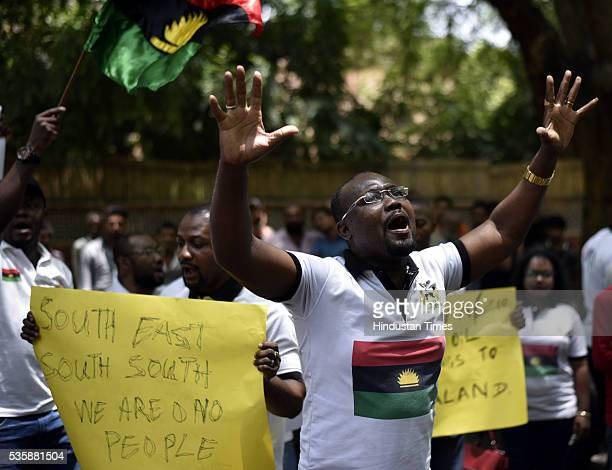 People from Biafra state holding a protest for the release of proBiafra political activist Nnamdi Kanu who is in a Nigerian prison since October at...