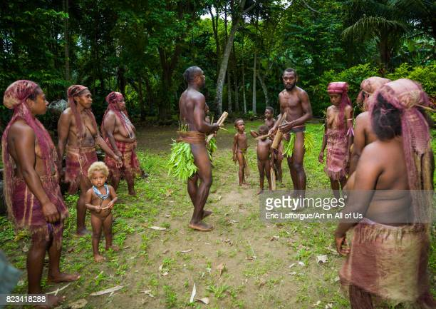 People from Big Nambas tribe performing the dance sticks during a ceremony Malampa Province Malekula Island Vanuatu on August 26 2007 in Malekula...