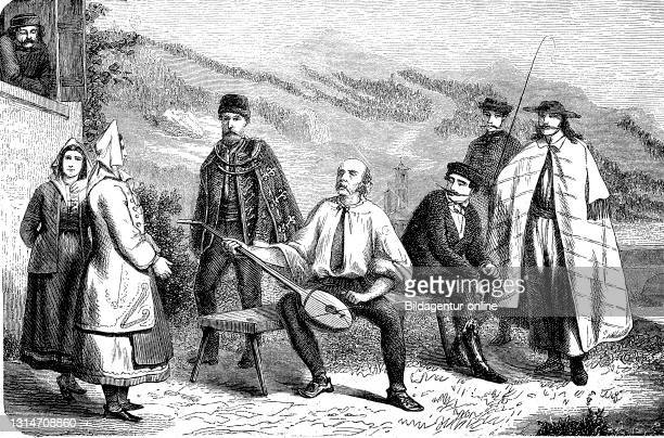 People from Croatia, Croats, in 1880 / Leute aus Kroatien, Kroaten, im Jahre 1880, Historisch, historical, digital improved reproduction of an...