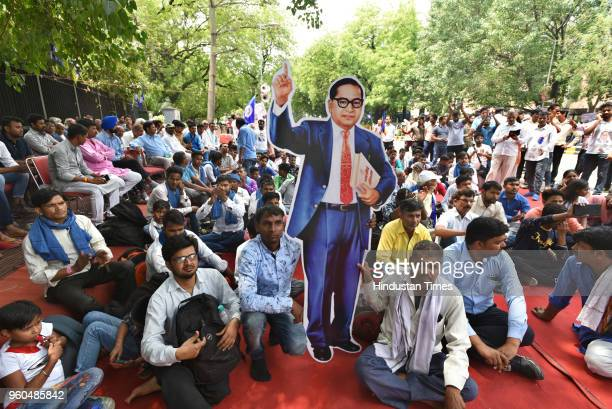 People from Dalit and Tribal community protest against atrocities and demand for justice at Parliament Street, on May 20, 2018 in New Delhi, India.