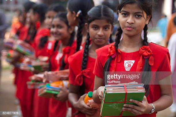 People from different community distributed free story book to slum children of a school on the occasion of Ekushe Book Fair on February 24 2015 in...
