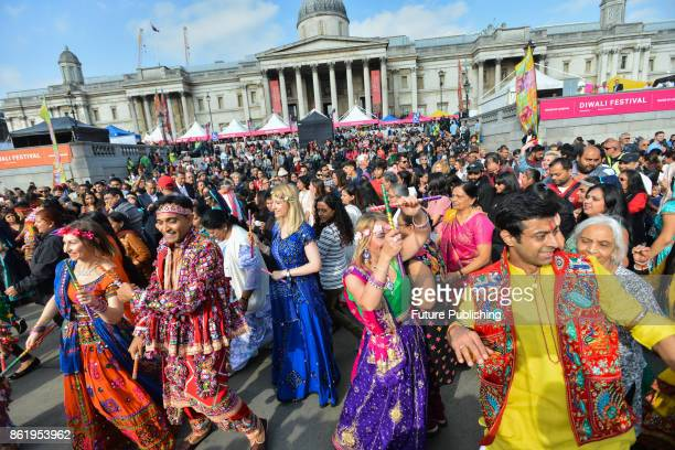 People from Hindu Sikh and Jain community celebrated 16th annual festival of Diwali in Trafalgar Square on October 16 2017 in London England...
