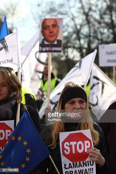 People from KOD protest in front of Pomeranian Voivodeship authority building against today's events in the Polish parliament in Gdansk Poland on...