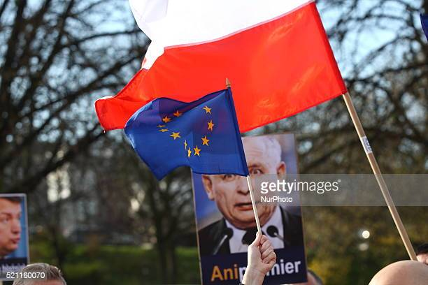 People from KOD protest in front of Pomeranian Voivodeship authority building, against today's events in the Polish parliament, in Gdansk, Poland, on...