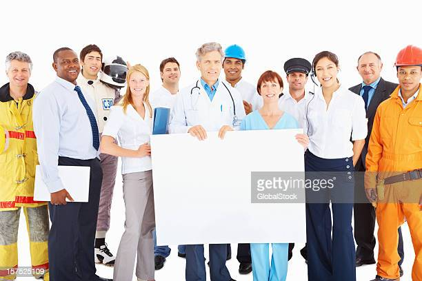 People from respective jobs with an empty board