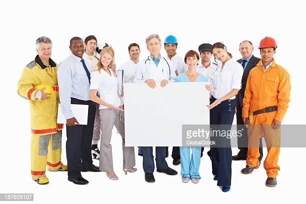 personas de las respectivas profesiones con un blanco de planchar - representar fotografías e imágenes de stock