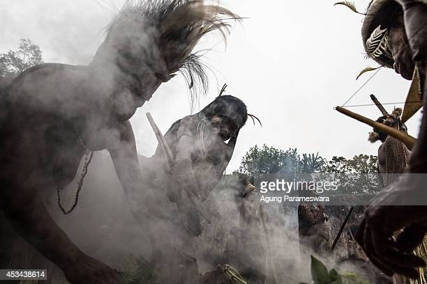 People from the Dani tribe vegetables and sweet potatoes in a traditional way using hot stones at Obia Village on August 9 2014 in Wamena Papua...