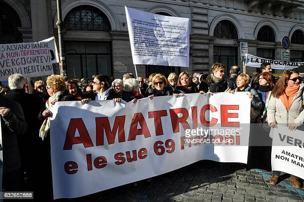 People from the earthquake-ravaged zones of central Italy demonstrate against the slow bureaucracy of the government in sending economic help to the...