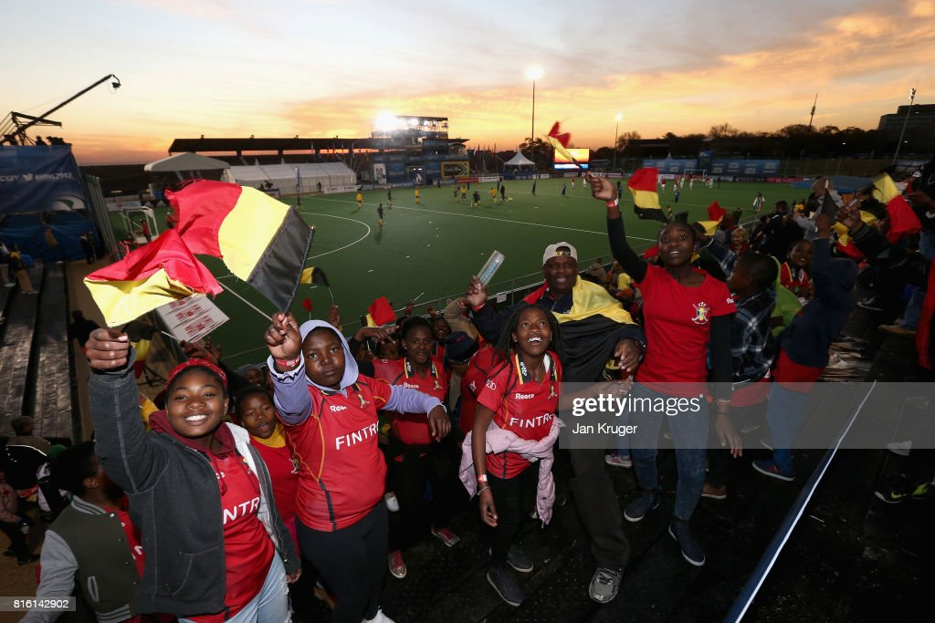 People from the Little Rose Children Centre are seen enjoying the pre match atmosphere prior to the Group B match between South Africa and Belgium on day five of the FIH Hockey World League - Men's Semi Finals on July 17, 2017 in Johannesburg, South Africa.
