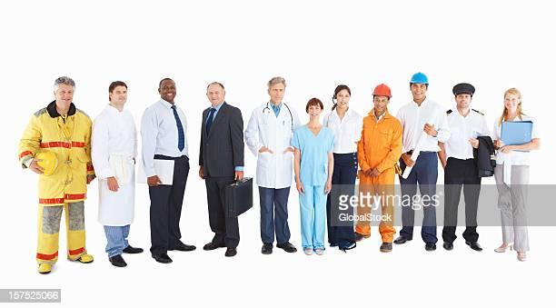 personas de sus respectivos profesiones sobre blanco - representar fotografías e imágenes de stock