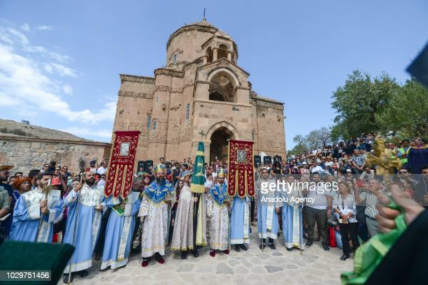 People from Turkey and around the world attend the mass in the Cathedral of the Holy Cross on Akdamar Island in Lake Van in eastern Turkey on...