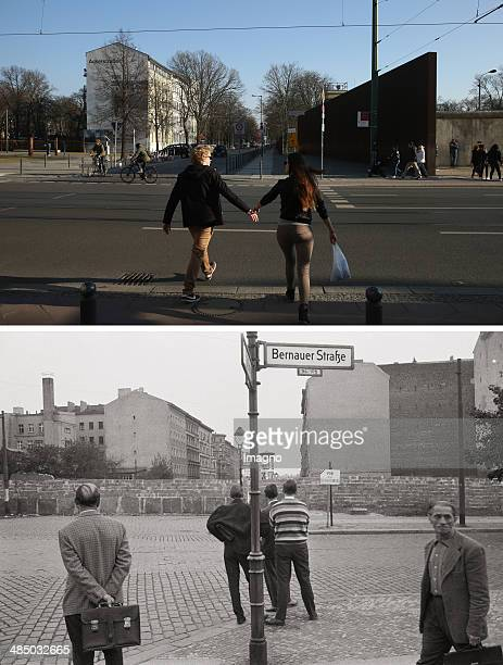 In this composite image a comparison has been made between Berlin in the 1960s and Berlin now in 2014 GERMANY JANUARY 01 People from West Berlin...