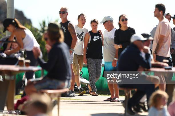 People gather along Burleigh Heads foreshore on May 02 2020 in Gold Coast Australia The Queensland government has eased COVID19 lockdown measures in...