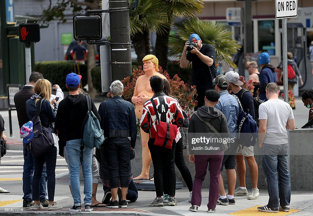 Naked Donald Trump Statues Appear In Various U.S. Cities : News Photo