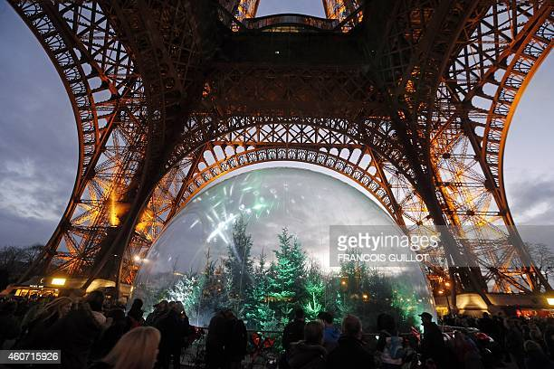 People gather around an installation of pine trees in a giant snow globe under the Eiffel Tower in central Paris on December 20 2014 AFP PHOTO /...