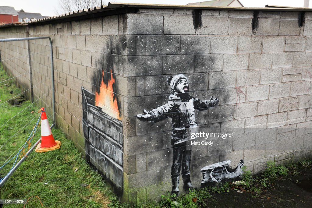 Banksy Appears On A Garage Wall In Port Talbot : News Photo