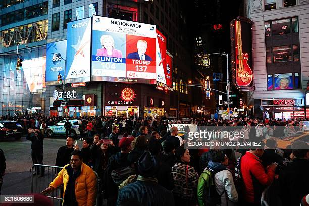 People gather around Times Square to see the results of the US presidential election on November 8 2016 in Manhattan New York / AFP / EDUARDO MUNOZ...