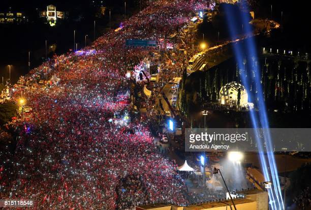 People gather at 15 July Martyrs Bridge during the July 15 Democracy and National Unity Day to mark July 15 defeated coup's 1st anniversary in...