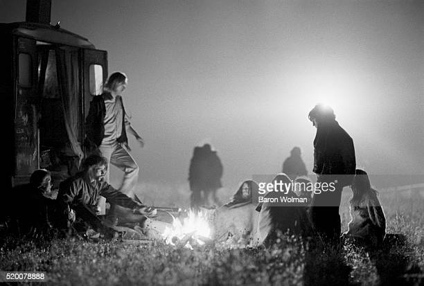 People gather at a bonfire at the Altamont Speedway Free Festival in northern California held on Saturday December 6 1969