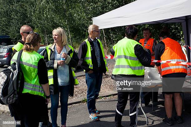 People gather at a check tent beside the Great Belt bridge to take part in the Facebook group 'Missing People's third action' searching for Emilie...