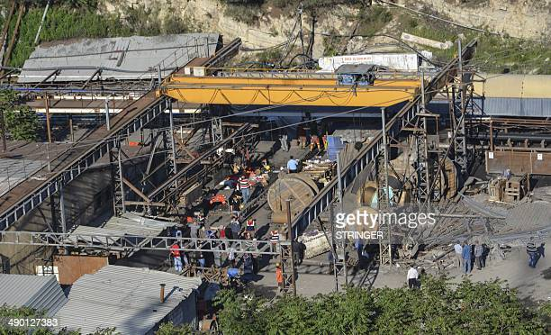 People gather at a mine in the Soma district in the western Turkish province of Manisa on May 13 after it collapsed due to an explosion following an...
