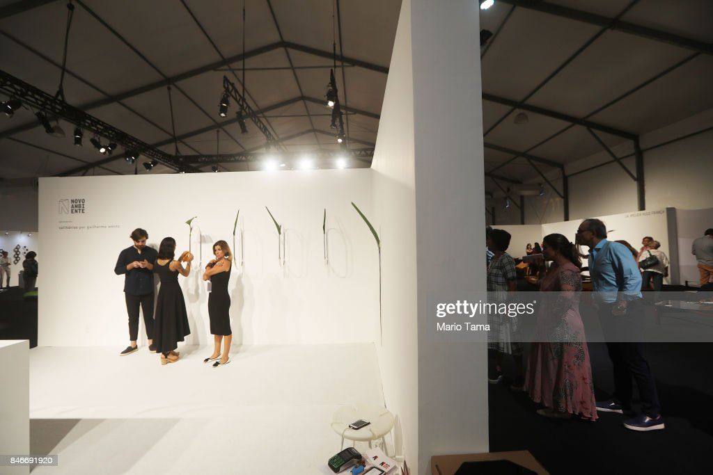 People gather at a preview of the ArtRio 2017 international fair on September 13, 2017 in Rio de Janeiro, Brazil. 73 Brazilian and international artists will be on display at the Gloria Marina through September 17.