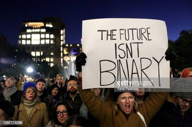 People gather at a rally for LGBTQI rights at Washington Square Park on October 21 2018 in New York City Based on a leaked memo The New York Times...