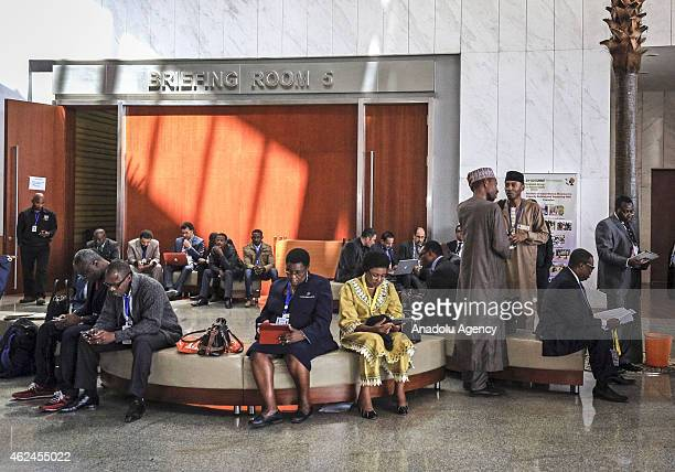 People gather at African Union Conference Center ahead of 24th ordinary session of the African Union Summit in Addis Ababa Ethiopia on January 29 2015
