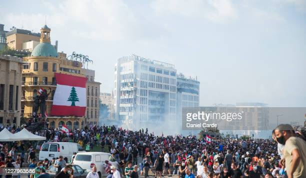 People gather at an anti-government protest on August 8, 2020 in Beirut, Lebanon. The Lebanese capital is reeling from this week's massive explosion...