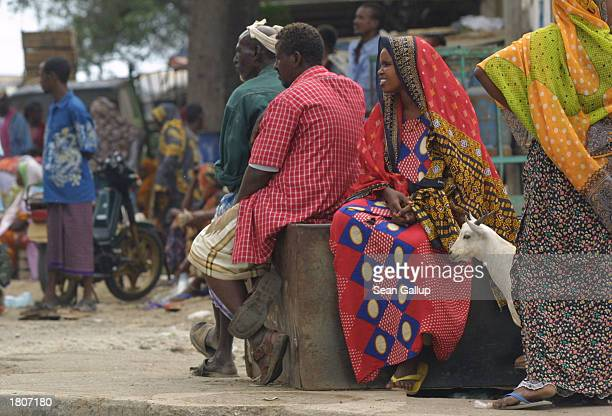 People gather at an openair market February 21 2003 in Djibouti Town Djibouti Located in the Horn of Africa Djibouti has taken on strategic...